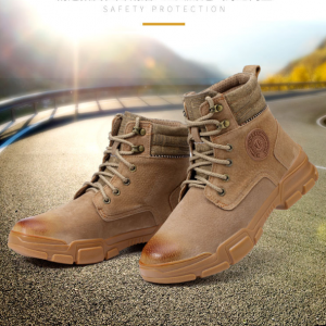 Breathable stylish Suede Leather Upper High Ankle Men Desert Combat Boots Military Safety Shoes
