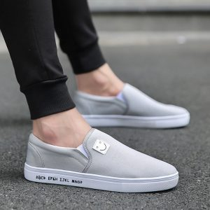 New Model beige casual male loafers man classic canvas shoes with nitrile rubber sole