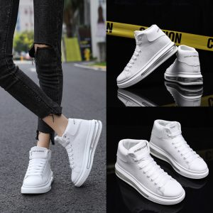 High Top Men's Air Cushion Sports Sneakers Lovers Small White Shoes Pu Leather Shoes Mens Shoes Loafers Casual