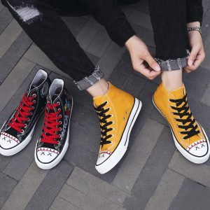 Breathable Light Weight Canvas Mens Casual Shoes 1pair High Top Printed Custom Canvas Shoes