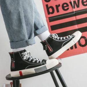 Oem New Model Hot Sale Fashion High Top Good Quality Low Price Men Casual Canvas Lightweight Shoes