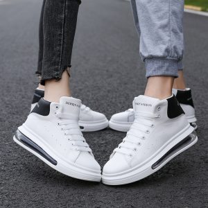 High Top Casual Shoes Men Loafer Leather Men Flatform Sneakers Shoes White Casual Shoes