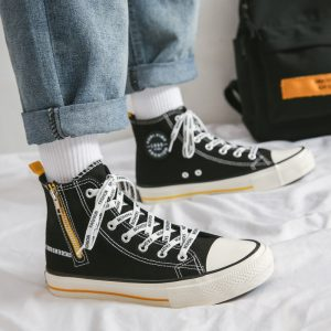 New Style Custom Printed Wholesale Autumn Black Low Price outdoor Canvas Shoes men casual