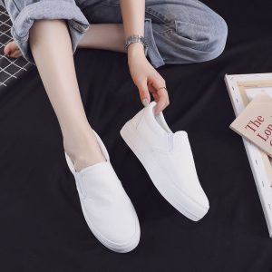 Stylish durable blank ladies shoes flats driving loafers white canvas shoes wholesale